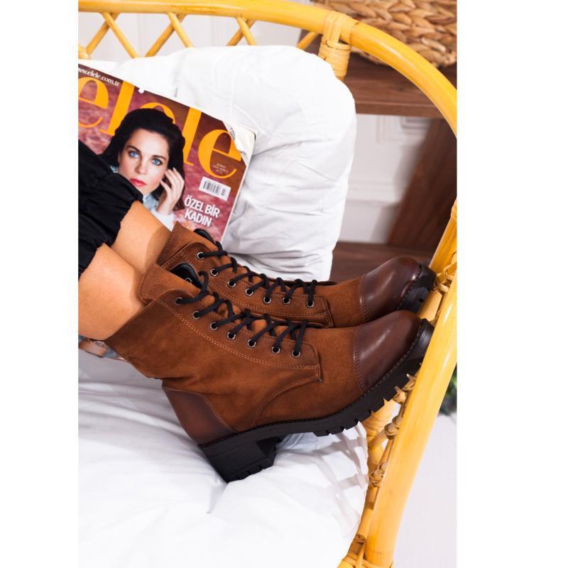 Tan Color Pu Nubuck Leather Lace-Up Ziiper Nova temporada 2021 Inverno autmn elegante molde padrão senhora mulheres mulheres botas