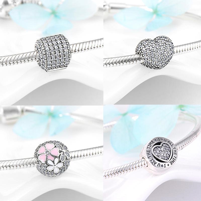 Clip verrouillure perles 925 sterling argent sparking cz perle coupe original argent européen bracelet bracelets de haute qualité femmes bijoux1