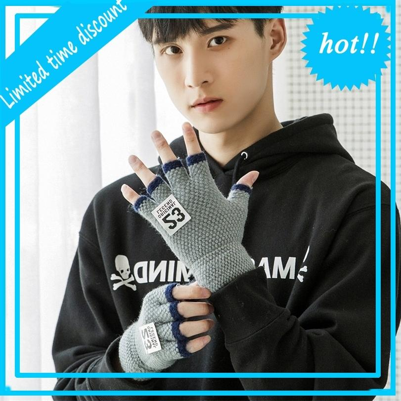 Kişiselleştirilmiş renkli etiket erkek yarı açık parmak sıcak yün yazma ve yazarak eldiven erkek öğrenci erkek arkadaşı hediye