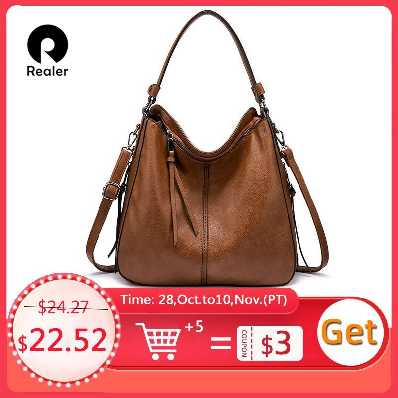 Realer Handtaschen Frauen Schulter Crossbody Bag Weibliche lässige große Totes Hohe Qualität Künstliche Leder Damen Hobo Messenger Bag