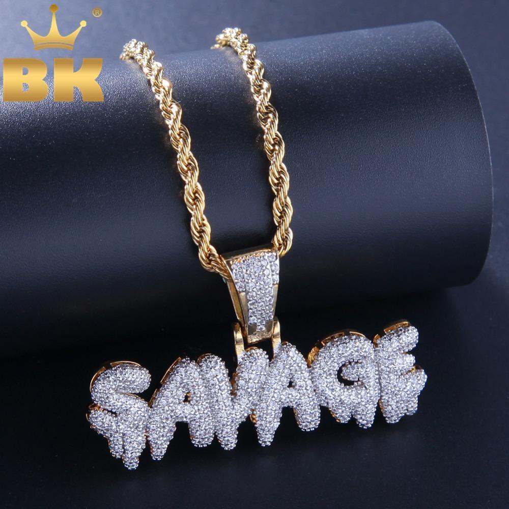 The Bling King Micro Pave Cubic Zirconia Lettere Savage Lettere Pendant Catene Fashion Hiphop Gold Collana di colore oro per gioielli da uomo Q1129