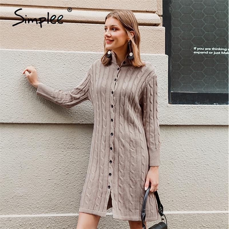 Простые повседневные стойки воротник женщин вязаное платье осень зима с длинным рукавом кнопка платье высокого уличного стиля женское свитер платье 201203
