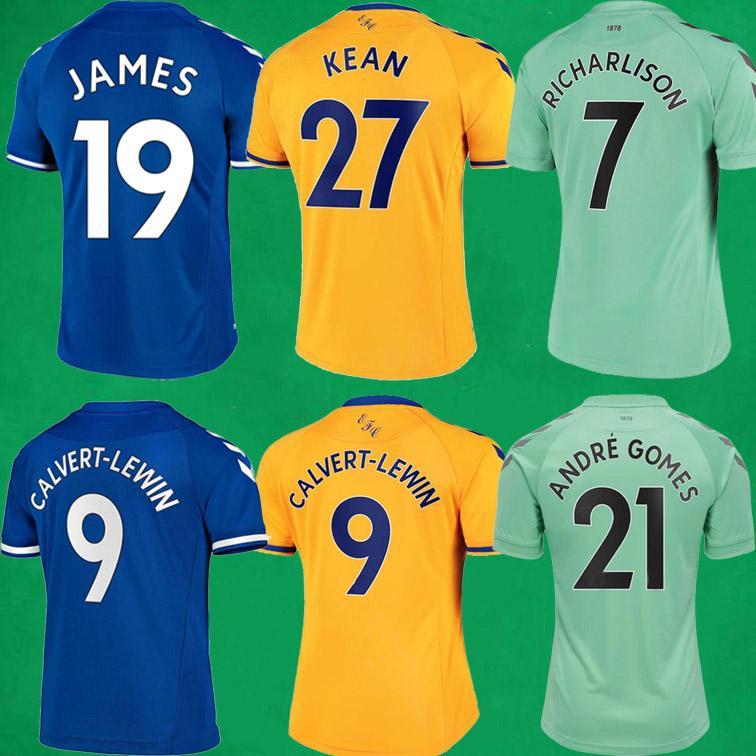 20 21 Richarlison Soccer Jerseys Allan James Rodriguez Calvert Lewin Football Shirts 2020 2021 رجل Kid Football Jersey Soccer Kits