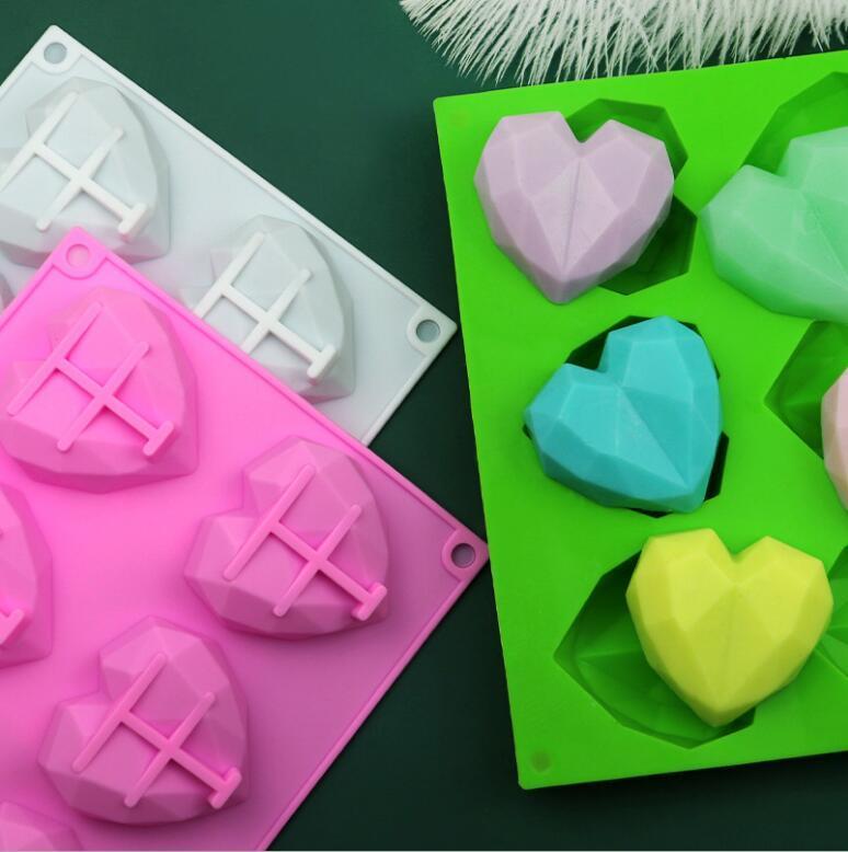 6 Cavité Diamond Love Silicone Gâteau Moule Silicone 3D Coeur Shape Fondant gâteau au chocolat Moule moule moule de moule de modelage décor