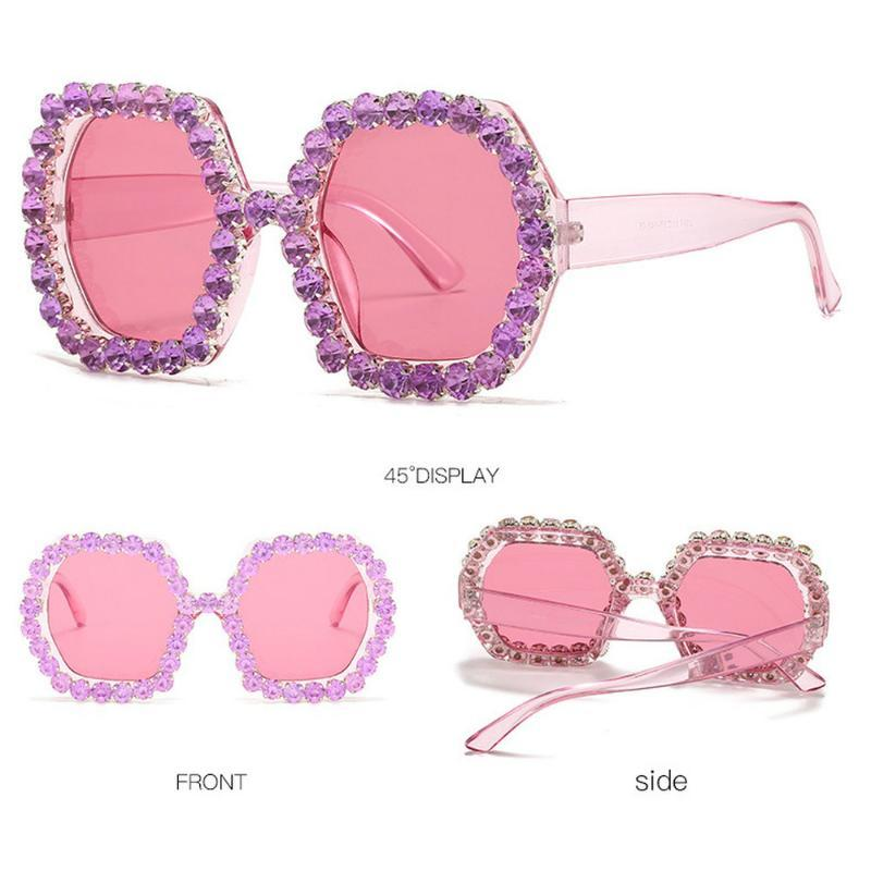 Rhinestone Oversized Square Men Handmade Diamond Women Sunglasses NX Punk Gradient 2020 Eyeglasses Sunglasses Kkeai