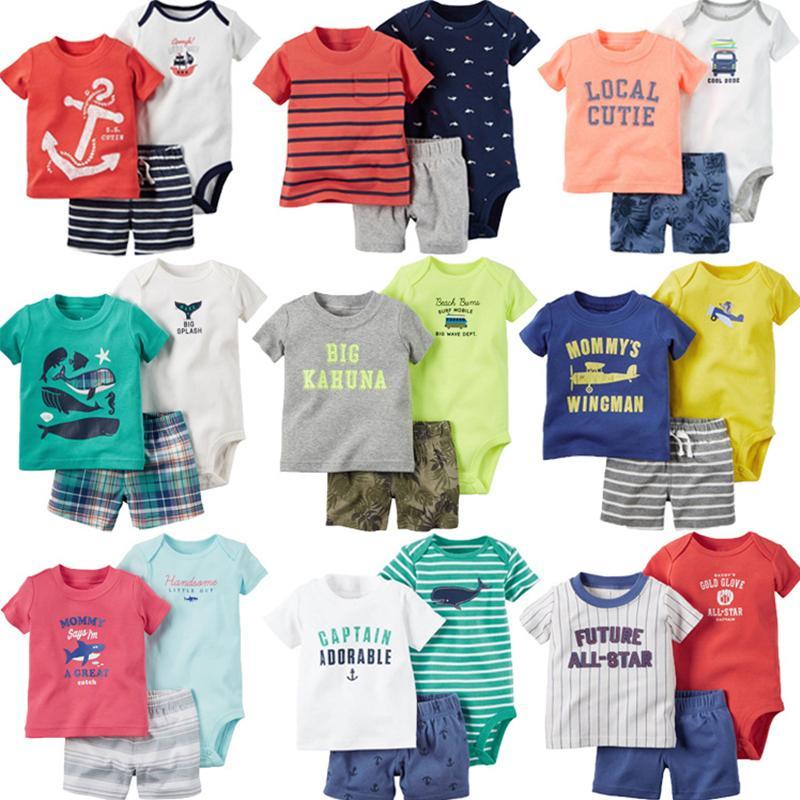 2020 verano caliente bebé niño conjuntos de algodón niños casual dibujos animados bebé camiseta body pantalón corto 3pc lindo niños niño ropa Y1113