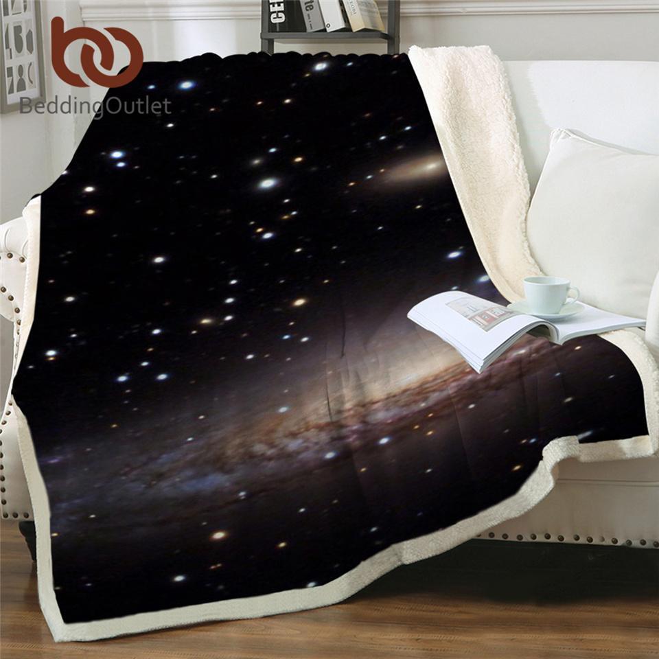 Beddingoulet étonnant Galaxy Sherpa Couverture Universe Imprimer Tête de peluche Lits de jet de couverture Canapé Couvercle Mince Quilt Mantas Para Cama 201113