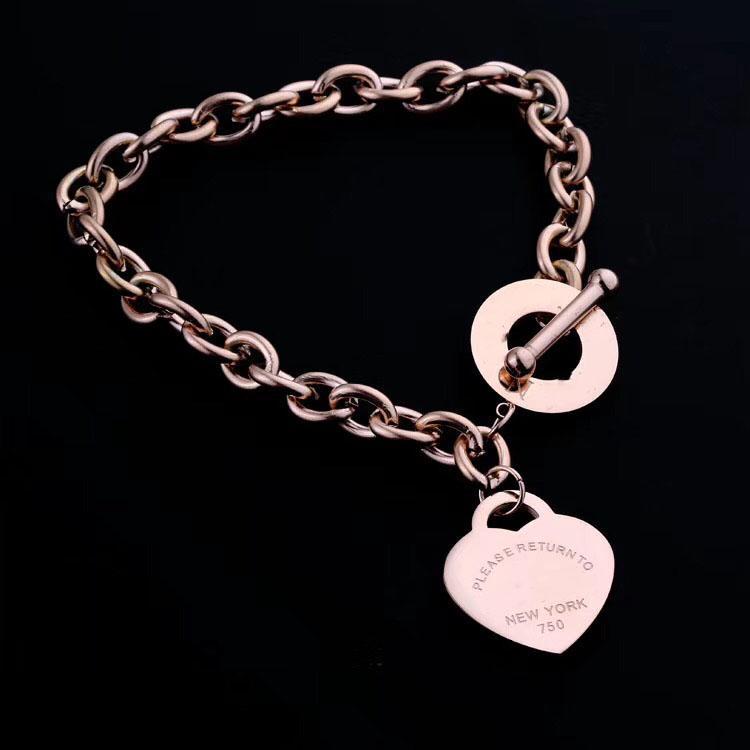 Weihnachtsgeschenk Silber Liebe Modekette Hochzeit Statement Schmuck Herz-Anhänger-Halsketten-Armband-Link für Frauen der Männer