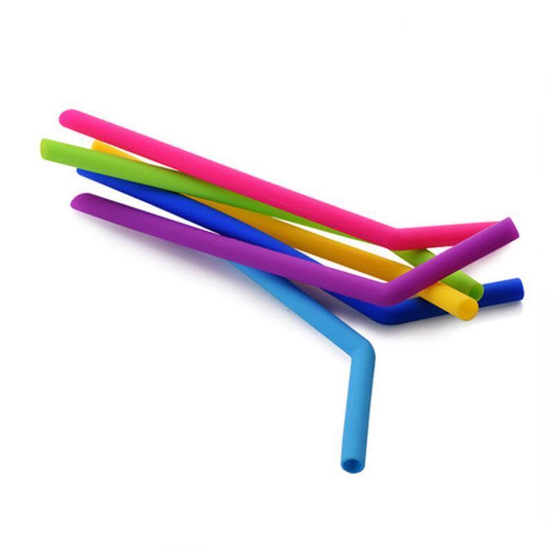 Tazas para beber para pajitas de silicona 6 Color Silicone Rayas Paja Reutilizable Eco Smoother Smoothie Flexible 800ml HWD3101 Brxef