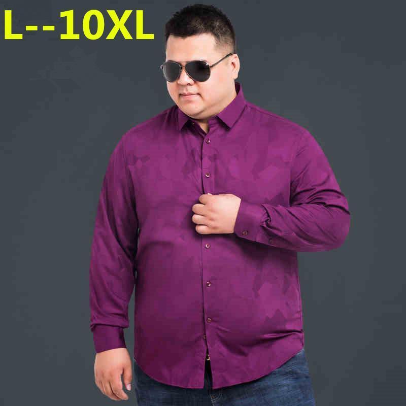 Camicie casual da uomo Plus Size 8xL 6XL 4xL 5xL Oxford Tessuto in tessuto in cotone Eccellente confortevole Slim Fit Button Collar Business Uomo Top