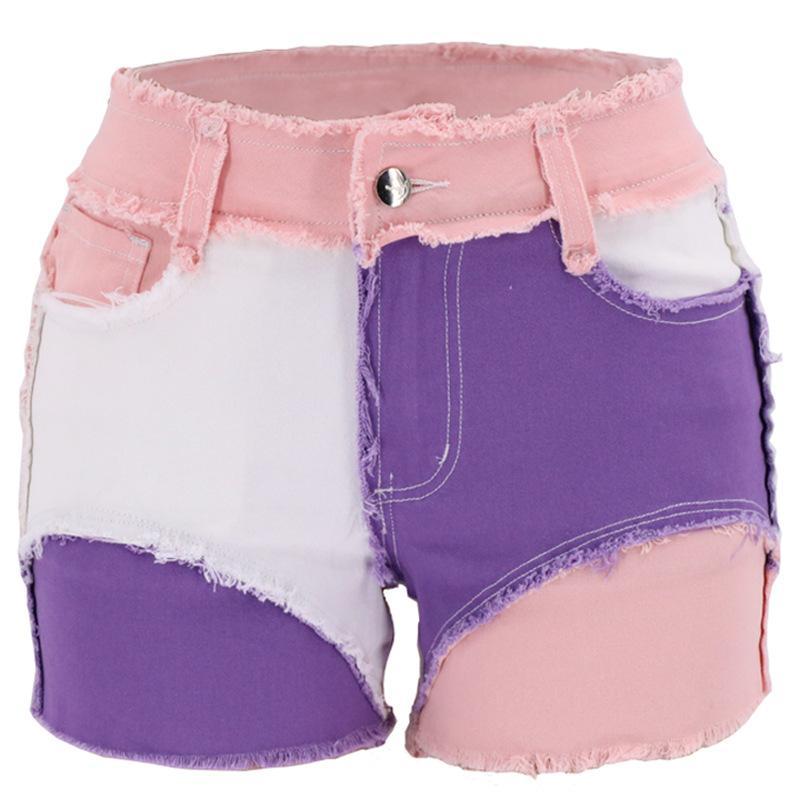 Moda multicolor Mid-cintura de algodón pantalones cortos de mezclilla nueva llegada costuras apretadas peludas pantalones cortos de mezclilla para mujer