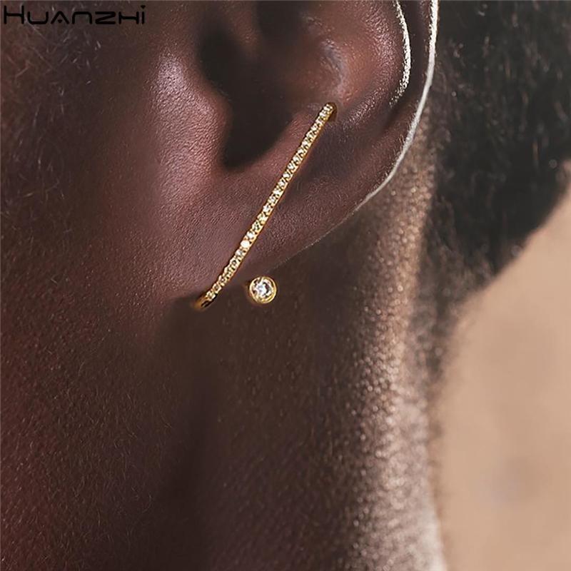 Huanzhi 2020 NUEVO Metal Zircon Geométrico Irregular Irregular Rhinestone Ear Clip Stud Pendientes para Mujeres Neglas Regalos de joyería