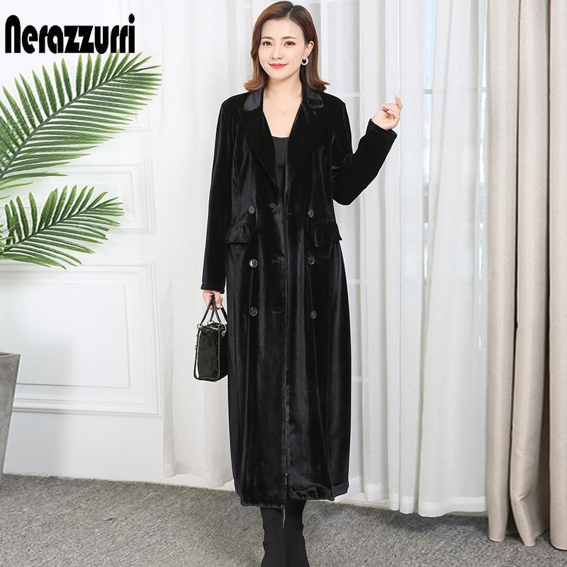 atacado 2020 mulheres primavera roupas Abotoamento repicado lapela Manga comprida de veludo casaco plus size maxi sobretudo mulheres