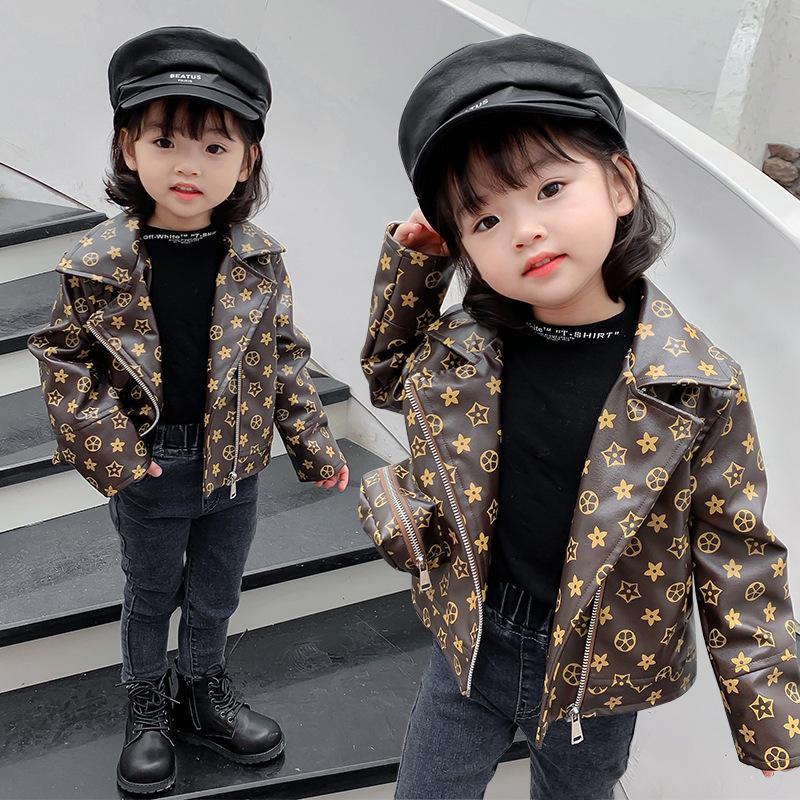 2020 Mädchen Mode Lederjacke Baby Frühling und Herbstjacke Mantel
