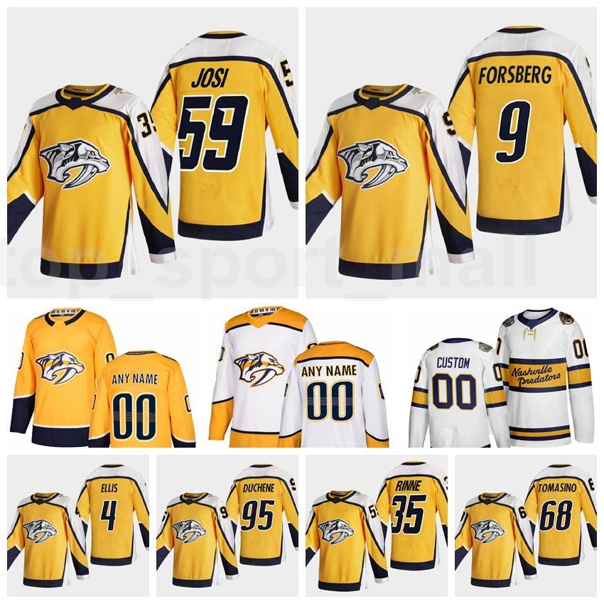 Hombres Hockey sobre hielo Retro Retro 59 Romano Josi Nashville Predators Jersey 9 Filip Forsberg 95 Matt Duchene 4 Ryan Ellis 35 Pekka Rinne