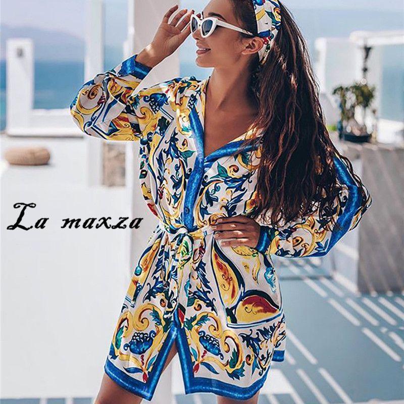 Повседневная элегантная печать женщин сексуальное мини платье 2020 мода длинные рукава однобортное стройное платье lj200824