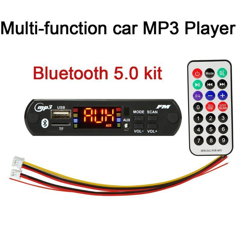 5 шт. / Пакет Bluetooth 5.0 Автомобильный комплект Беспроводной MP3 WMA Игрок Декодер Доска 12 В USB SD / TF AUX FM Audio Module + Пульт дистанционного управления