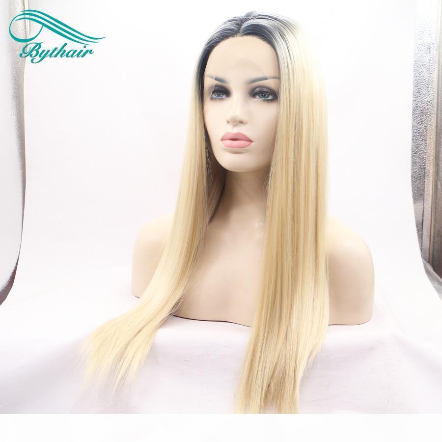 Bythair Resistente al calor Fibra Black Raíz Ombre Rubia Dos tono Color Perruque Mujer Seda Seda Sintética Sintética Frontal Peluca