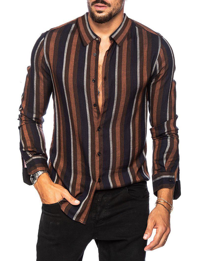 Printemps Été Marron Gris Camisa Chemisier Hombres Nouveautés Chemise à rayures pour hommes Slim Multi Couleur Dépeau à manches longues à manches longues