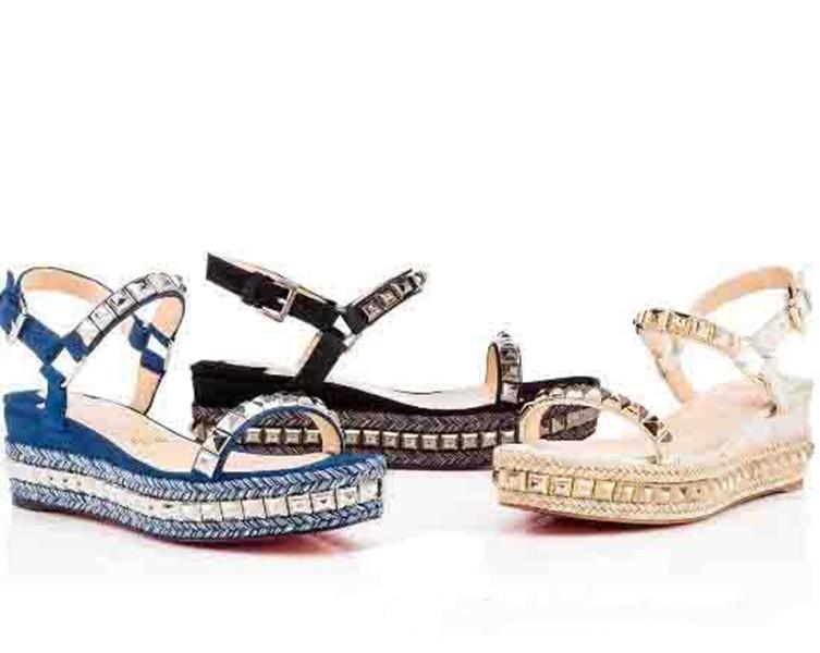 Süper Kalite Düğün Kadın Ayakkabı Yüksek Topuklu Pyraclou Kırmızı Alt Sandalet Kadınlar Için Takozlar Düz Sandal 35-42