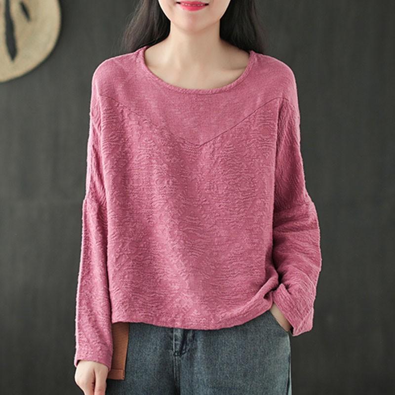 T-shirt das mulheres Johnature Outono Algodão Retro Jacquard Solto O-pescoço Manga Longa Pullover 2021 Simples Confortável Mulheres Fashion Tops