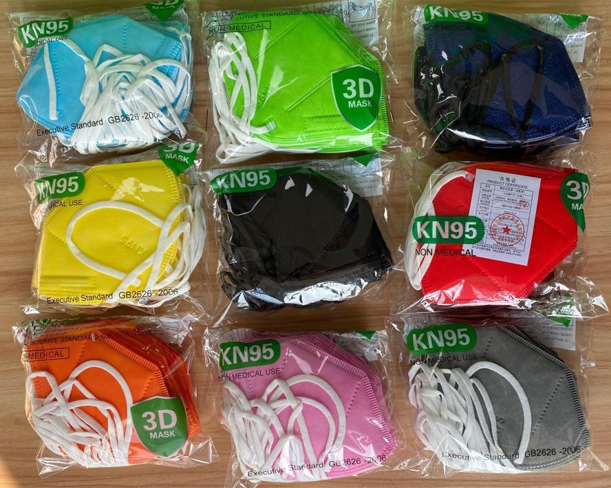 Kn95 Masks Masks FFP2 Маска для лица Взрослая Одноразовая Нетканая Маска Лепыустойчивые Ветрозащитный Респиратор Ткань Защитный Красочный FaceMask Бесплатная Доставка