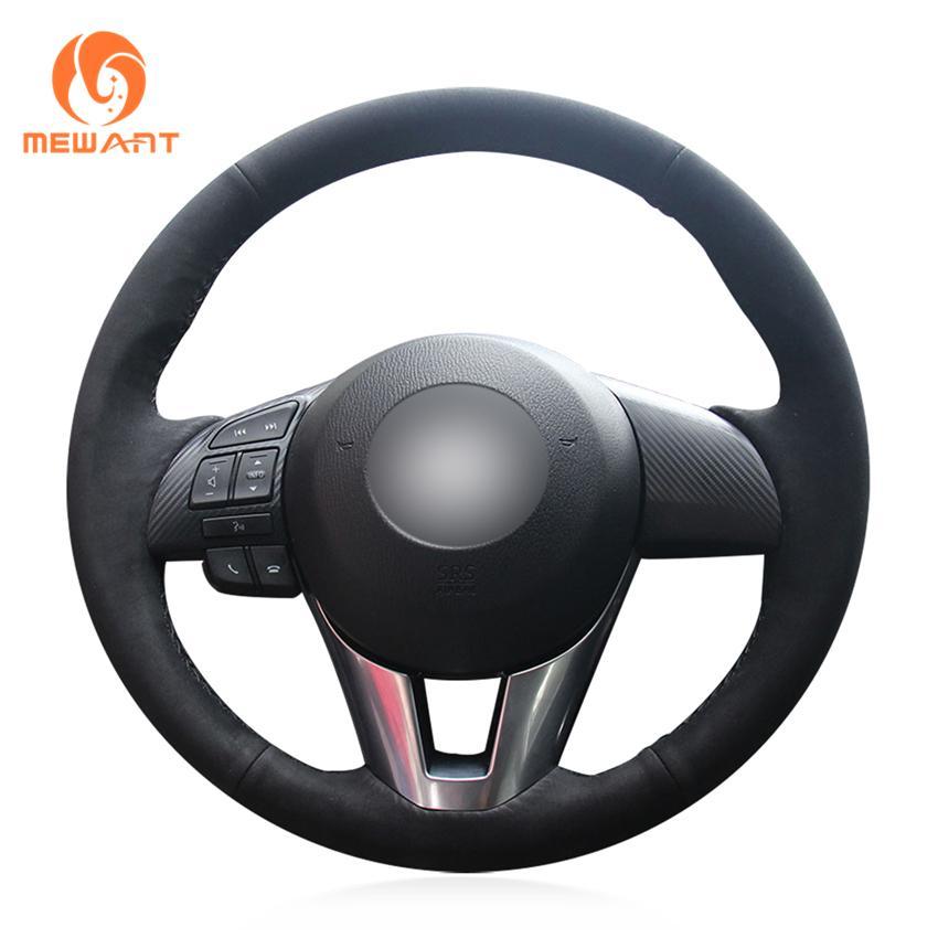 El-dikişli Siyah Süet Araba Direksiyon Kapağı Mazda 3 Axela Mazda 6 Atenza 2 CX-3 CX-5 Scion IA 2016