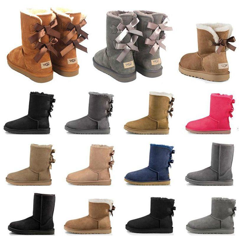 2021 Top Qualität Frauen Stiefel Booties Kastanie High Low Black Grey Navy Blue Klassische Knöchel Kurzstiefel Damen Schnee Winterstiefel Größe 5-10
