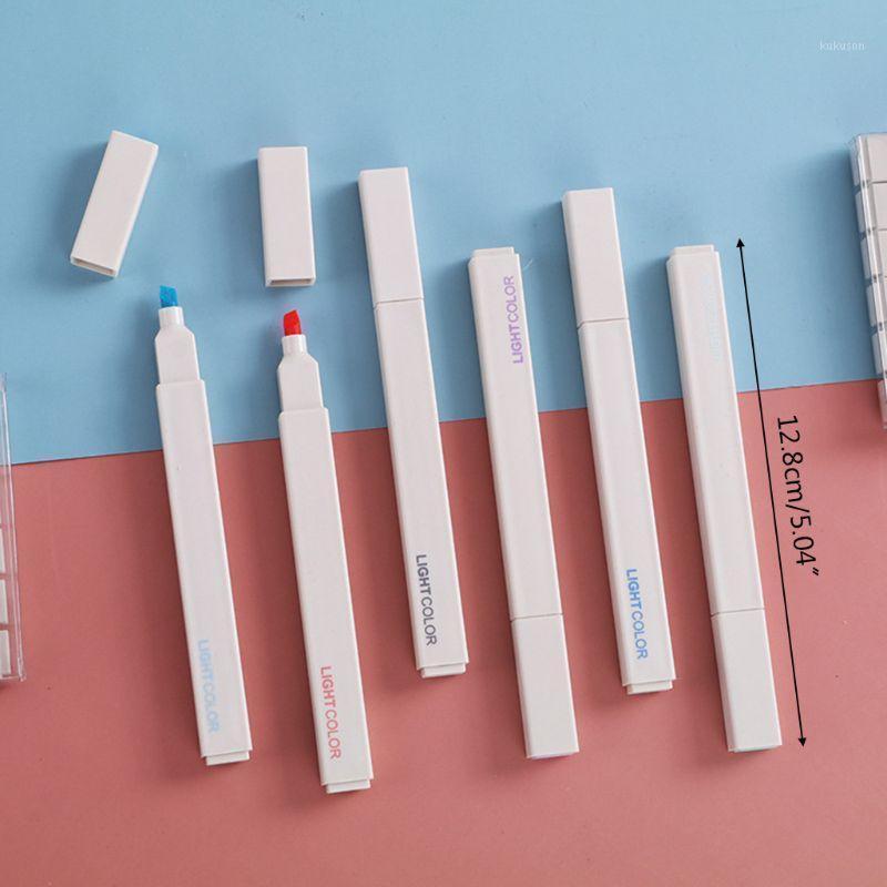 6 stücke Super weiche Highlighter Marker Stifte Set Wasserbasierte Tinte Morandi Pastellfarbe T3LB1