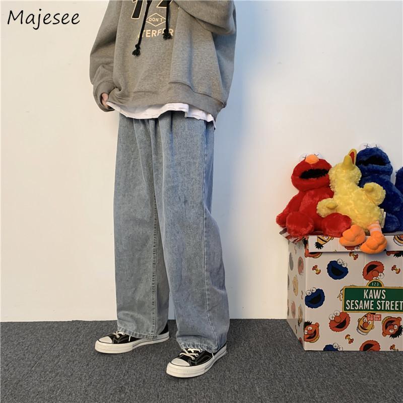 جينز الرجال الدينيم الرجال كامل طول زر خمر ربيع الخريف رجل طويل السراويل واسعة الساق الكورية نمط بسيط المتناثرة الشارع الشهير