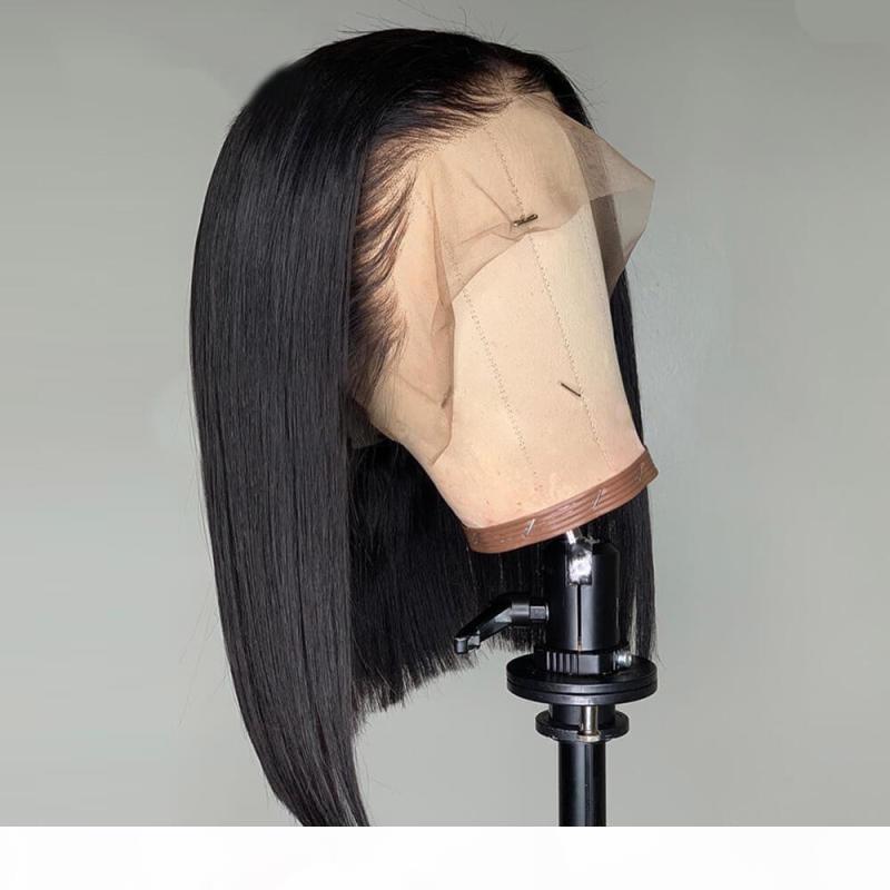 Düz İnsan Saç Peruk Remy Pre Klumped Bebek Saç Ile Brezilyalı 13x4 Peruk Tutkalsız Dantel Ön İnsan Saç Peruk Siyah Kadınlar için% 150%