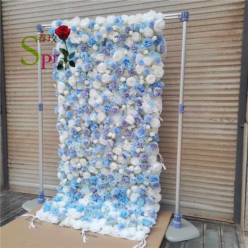SPR 4ft*8ft(1.2*2.4m) DIY big size roll up blue silk artifficial rose wedding backdrop stand flower wall