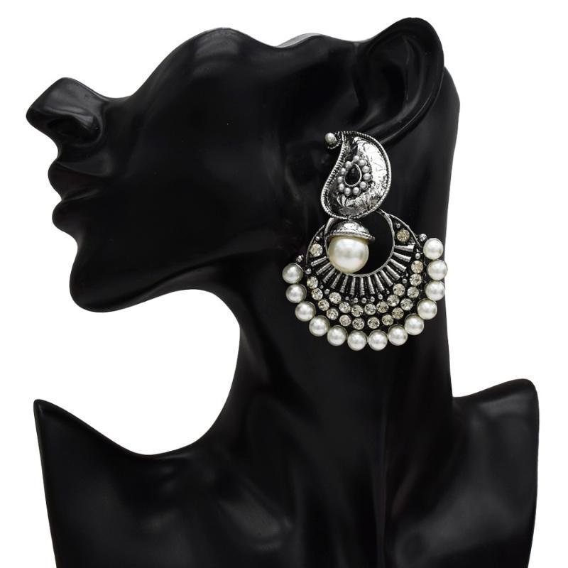 Afghanische Türkei Farbe Gold Metall Lange Tropfen Ohrringe Große Perlenblume Kristall Oxidiert Indien Jhumka Statement Frauen Ethnische Schmuck