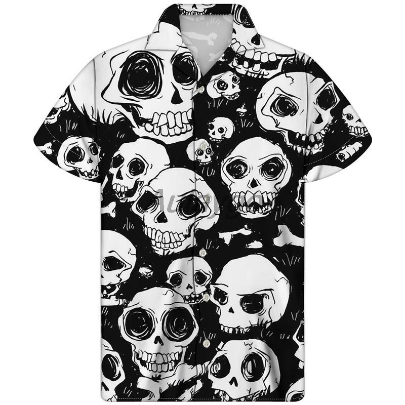 Cuban Guayabera Camisa Hombre Camicia per uomo Grigio Skull Print Hawaiian Tessuto Casual Casual Manica Corta Plus Size Uomo Vestiti X1218