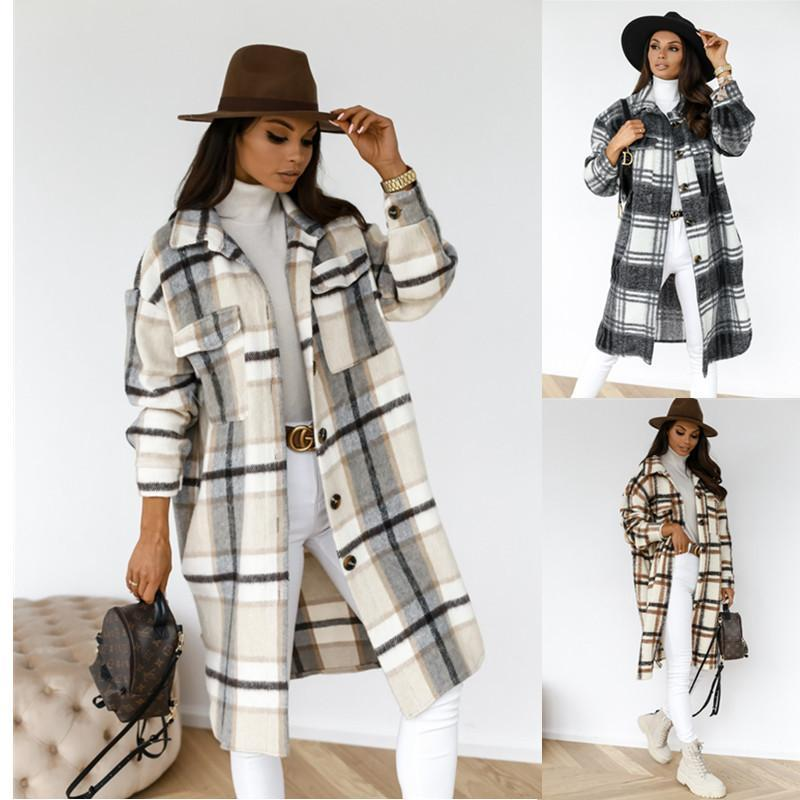 2021 recém-chegadas inverno verificado mulheres jaqueta para baixo sobretudo quente xadrez longo casaco de lã de lã grande feminina streetwear