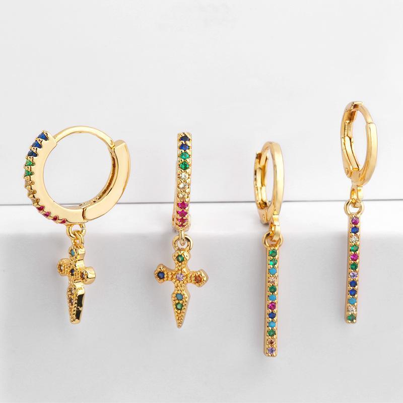 Küçük Hoop Küpe Kadınlar Renkli CZ Asfalt Gökkuşağı Charm Çapraz Kolye Takı Aretes Dainty Huggie Altın Renk Küpe MZ0511