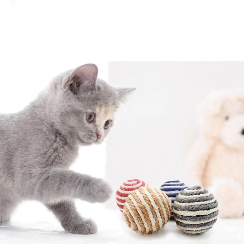 القط لعب مضغ لعبة سيسال القش القط حبل الحيوانات الأليفة حبل نسج الكرة دعابة الكرة القطط المنتجات للحيوانات الأليفة لون عشوائي JK2012PH