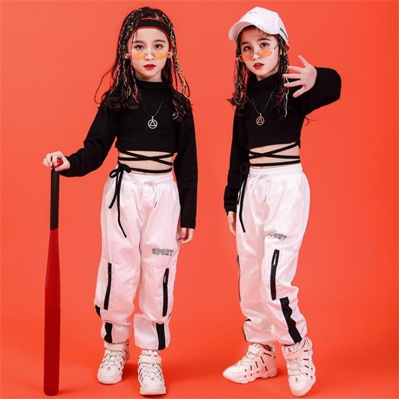 For 10 12 14 16 Years Children Hip Hop Clothing Black T-Shirt Top Crop Pants Girls Jazz Dance Costume Ballroom Dancing Clothes 201127