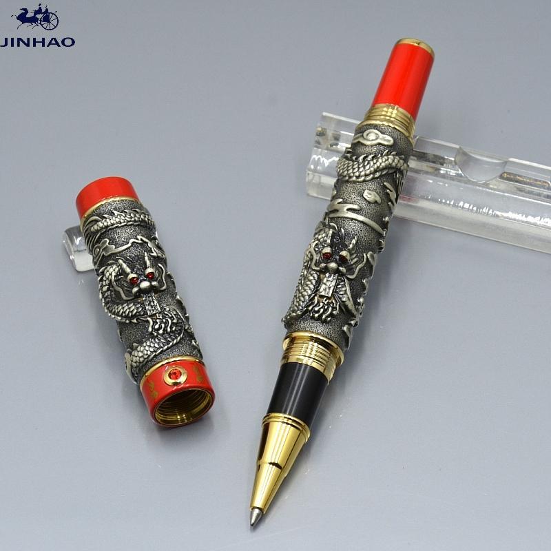 جودة عالية جينهاو القلم الأسود والذهبي مزدوج التنين النقش الأسطوانة الكرة القلم القرطاسية مكتب اللوازم المدرسية الكتابة أقلام هدية سلسة