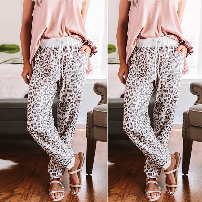 Кили женская мода леопарда принт с высокой талией шнуровки повседневные брюки бегэ1