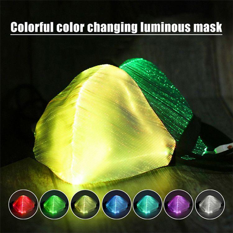 Uomini LED luce rave maschera luminosa per 7 colori donne viso maschera musica festa festa natale halloween lightn1