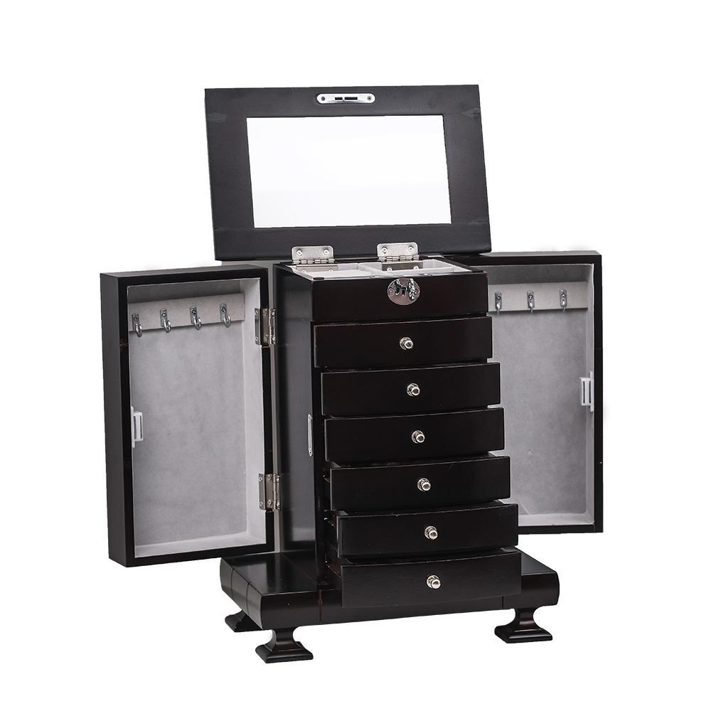 6 gavetas 7 camadas caixa de armazenamento de jóias de madeira vestir mesa de acabamento armário de exposição de jóias com porta dupla marrom