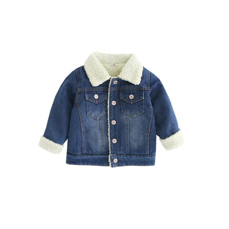 Toddler Kids Denim Jacket Winter Baby Warm Long Sleeve Thicken Denim Jacket Autumn Baby Girls Jeans Baby Outerwear Clothing F1205