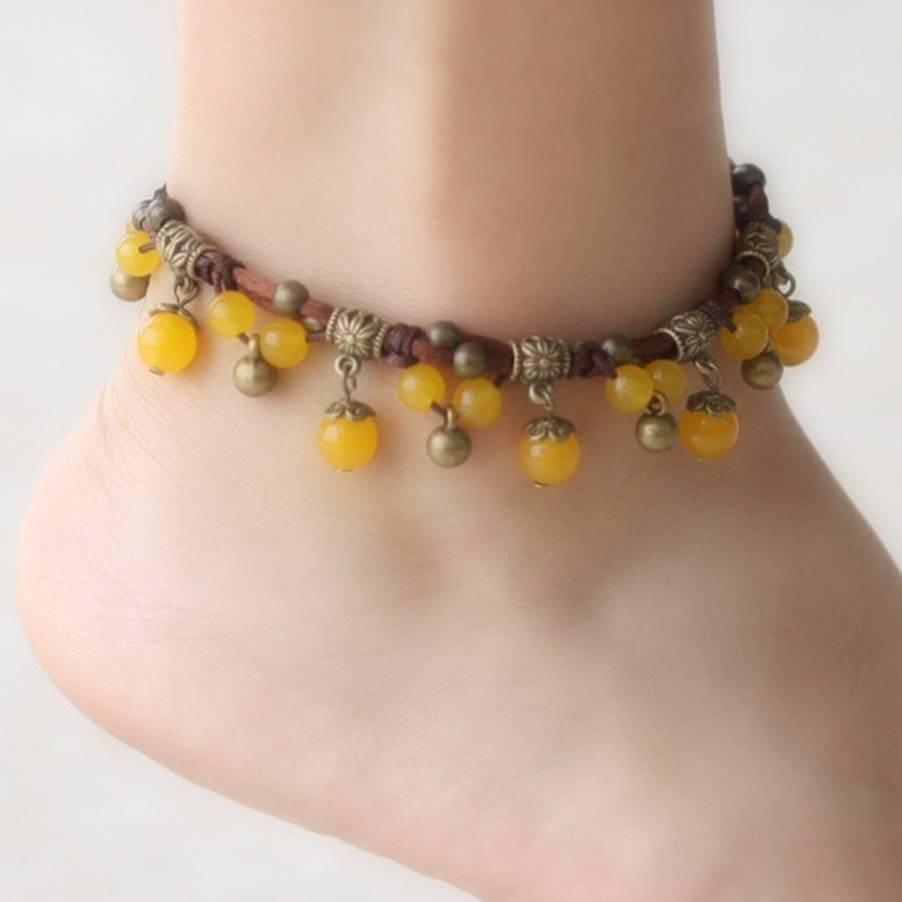Indian Handmade Elastic Stone Copper Bead para Mulheres Boho Beach Anklet Bell Pulseira Pé Jóias Braceletes