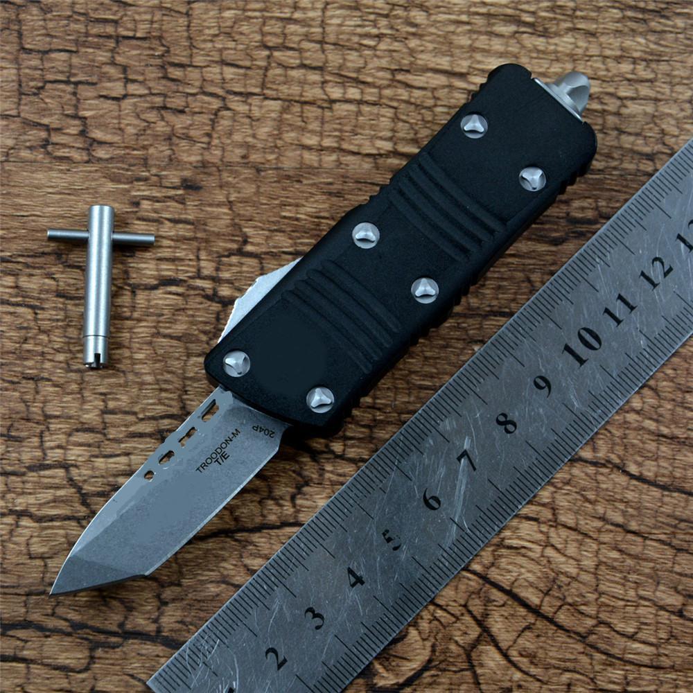 TROGOON T / E Coltello automatico Stonewashed Bade in lega di alluminio Maniglia in lega di alluminio per esterni Camping Sopravvivel Tool Auto Coltelli