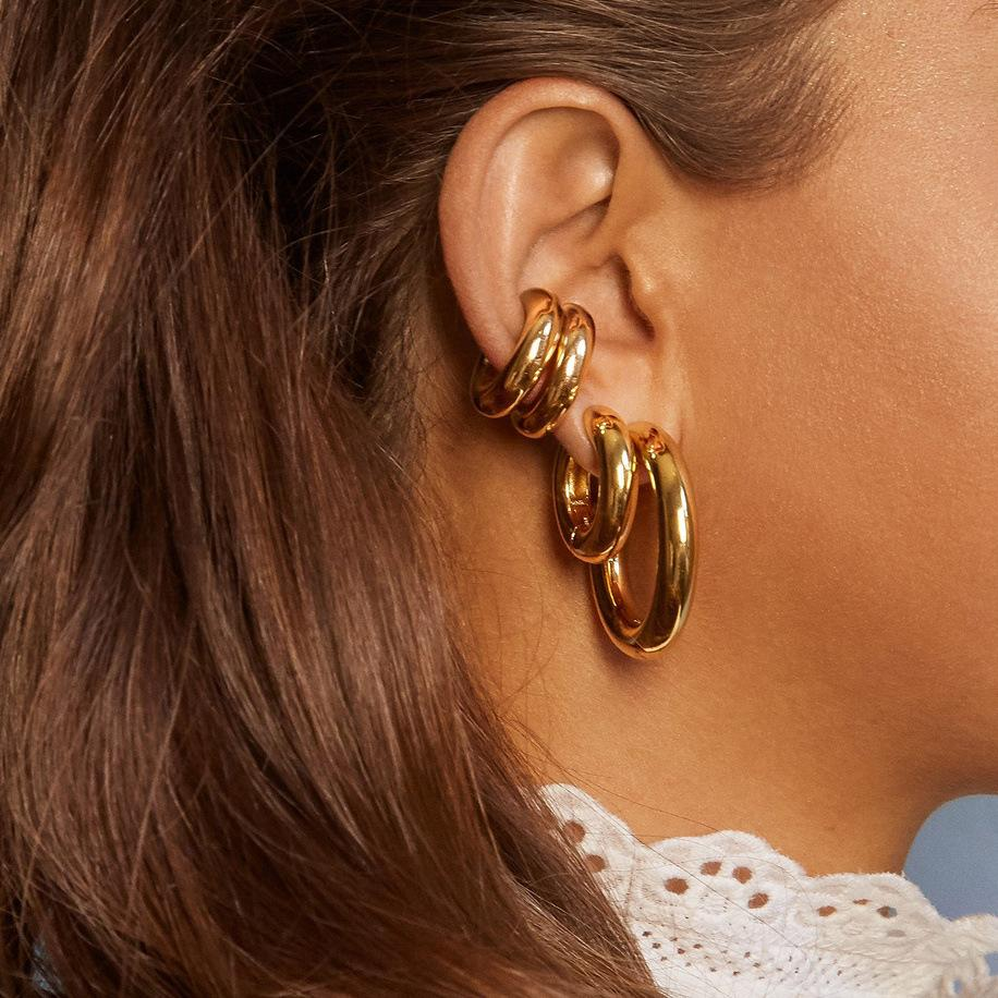 Big Hoop Earrings Fashion Round Huggie Hoops Earring Polished Earrings Jewelry Gifts for Women Girls Classic Style