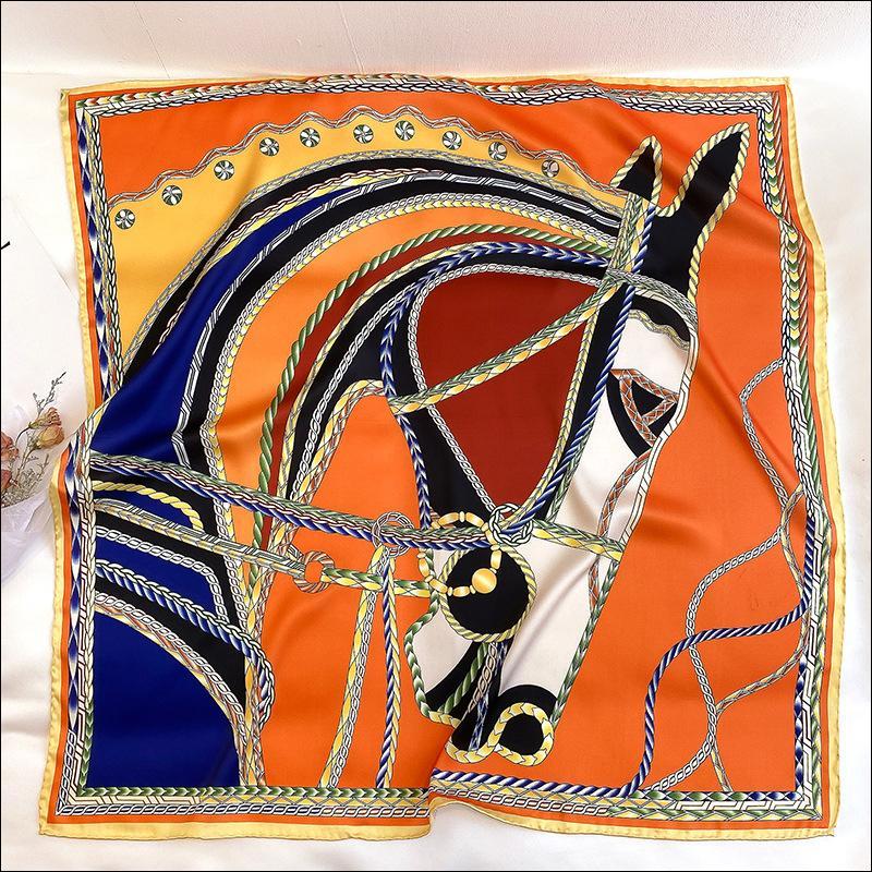 Écharpe en soie Écharpe Satin Tête Foulard pour femme à la main en soie Écharpe roulée 90 Imprimé animal impression Col Foulard Luxe Headrap