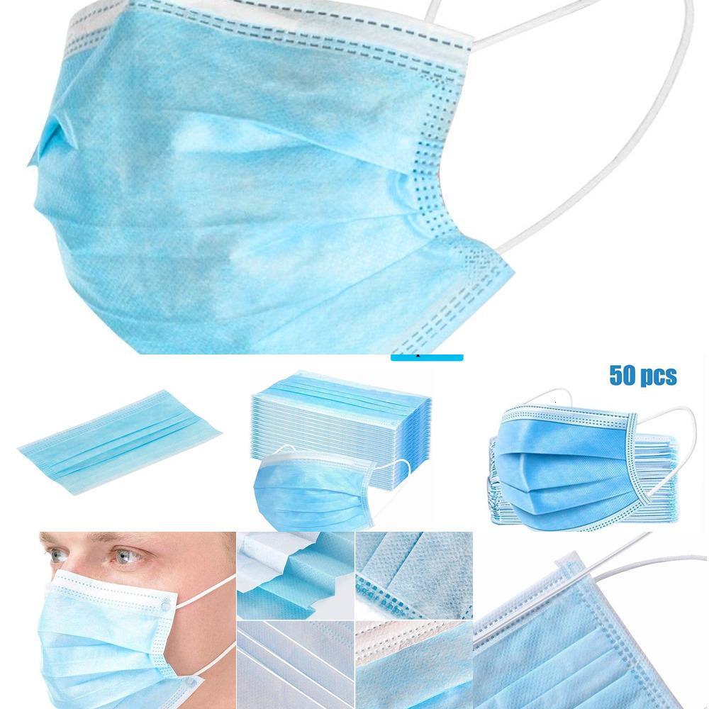 Camada 3 Máscaras de boca-loop de orelha para máscaras capa de 3-ply não-tecidos descartáveis máscara de poeira suave respirável superar xhah5o