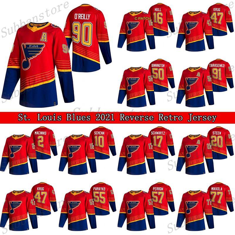 St. Louis Blues 2021 Reverse Retro Jersey 90 Ryan O'Reilly 91 Vladimir Tarasenko 47 Torey Krug 50 Binnington Hockey Jerseys