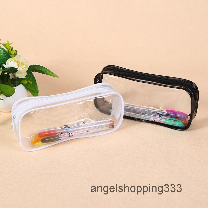 1 stück transparent pvc etui tapete opbergbag große kapazität klare plastik machen rits potlood schulbedarf